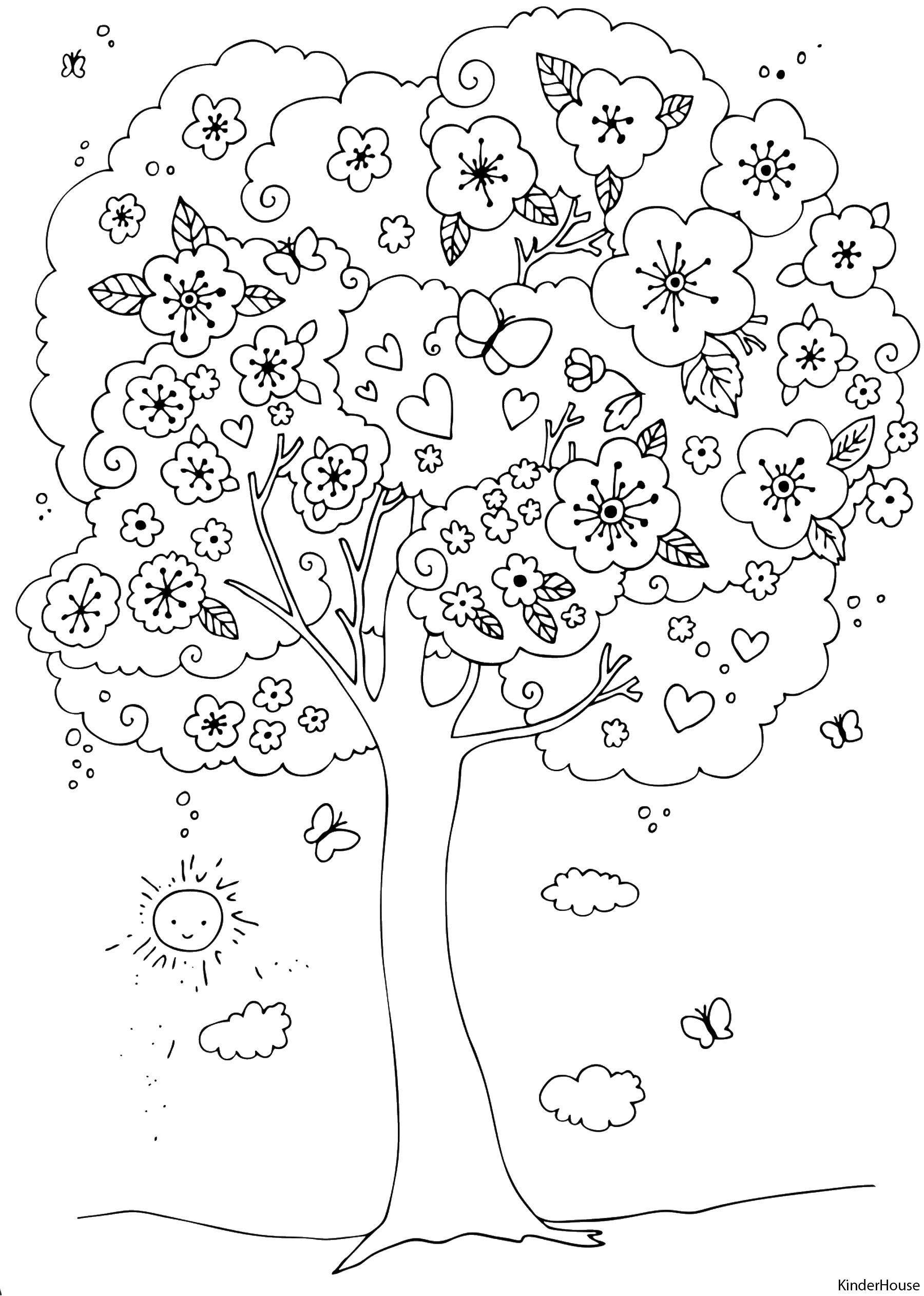 Раскраска Весеннее деревце Скачать Весна, цветы, тепло.  Распечатать ,весна,