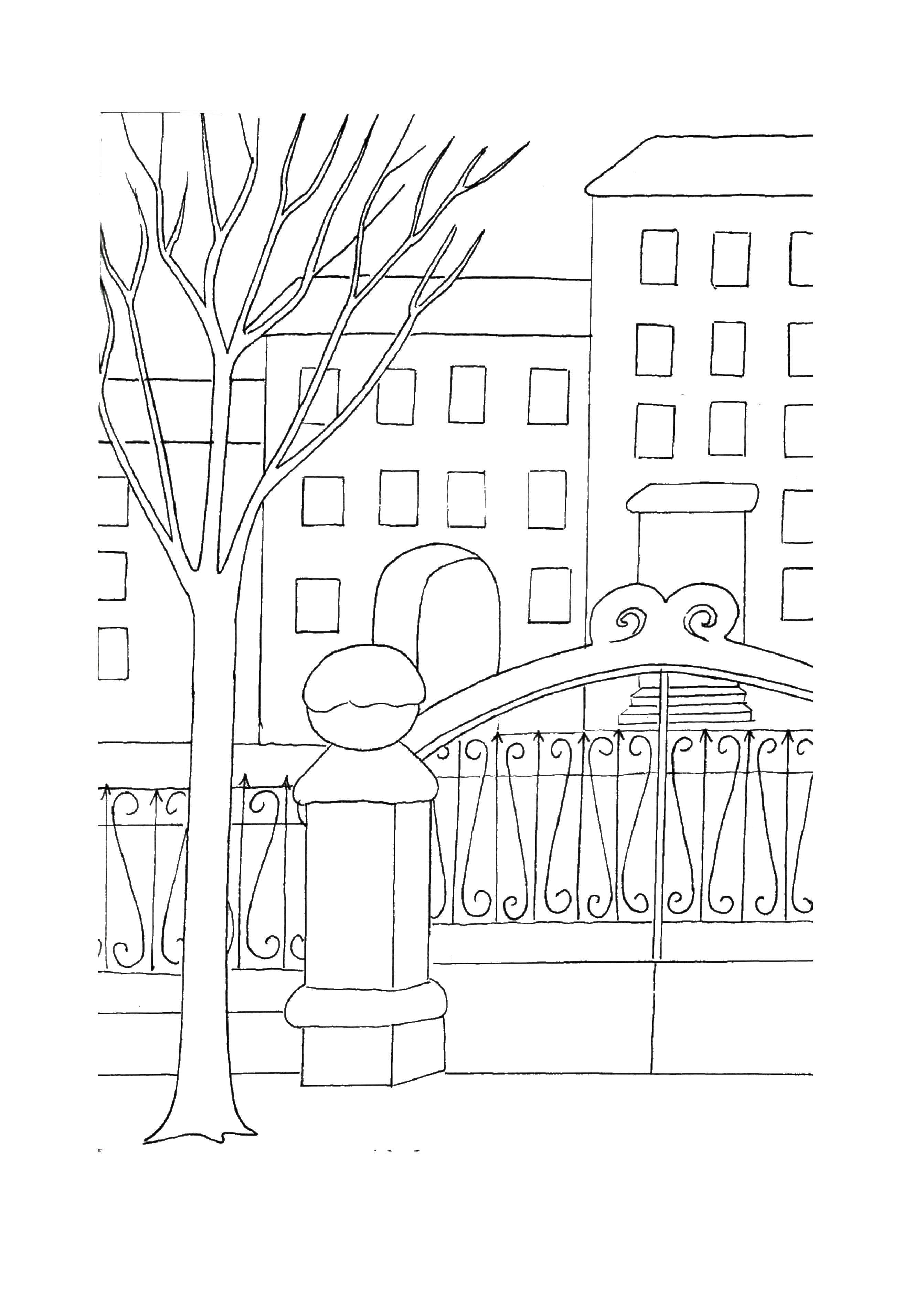 Раскраска Ворота во двор Скачать ворота, двор, дерево.  Распечатать ,весна,