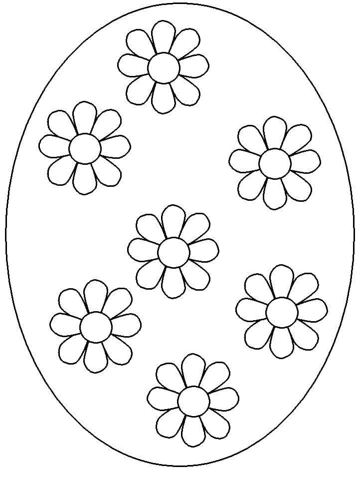 Раскраска Ромашка яйцо Скачать пасхальные яйца.  Распечатать ,раскраски пасха,