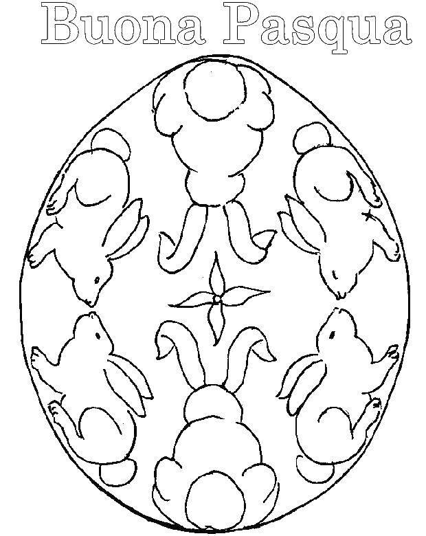 Раскраска Кролики на яйце Скачать кролик, заяц, пасха.  Распечатать ,раскраски пасха,