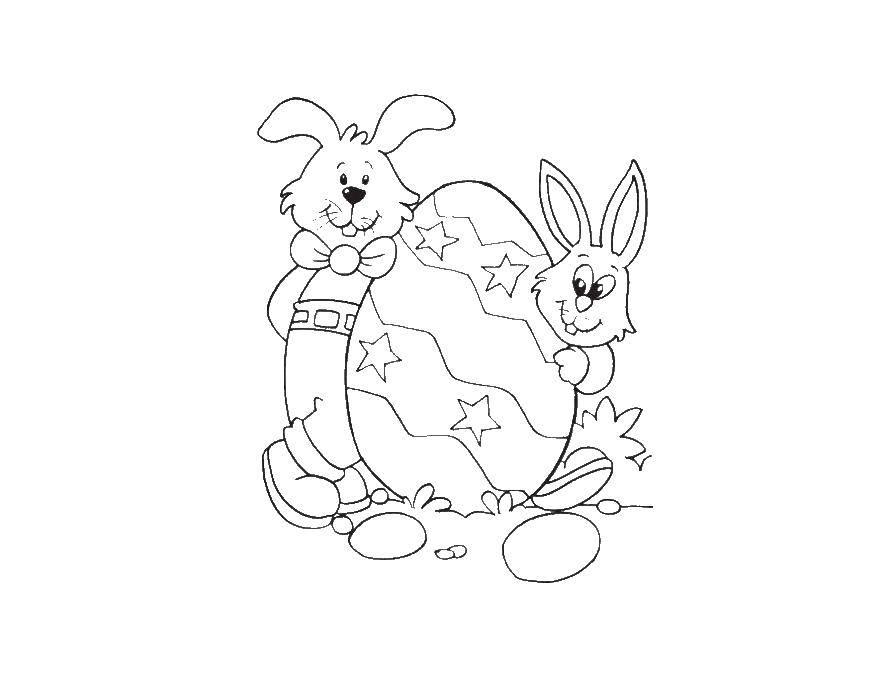 Раскраска Кролики прятались за пасхальным яйцом Скачать кролик, заяц, пасха.  Распечатать ,пасхальные яйца,