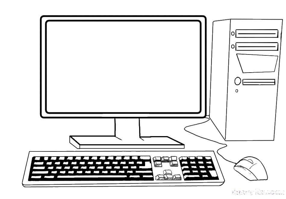 Раскраска Компьютер настольный Скачать ,Компьютер,,.  Распечатать