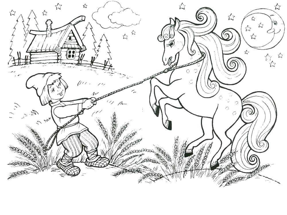 раскраски раскраска мальчик и лошадь сказка о царе салтане