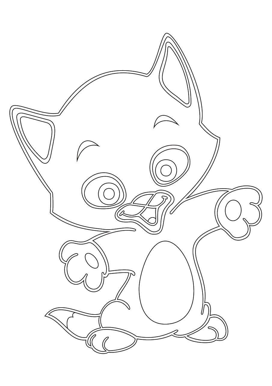 Раскраска Детское творчество Скачать ,Животные, котёнок,.  Распечатать