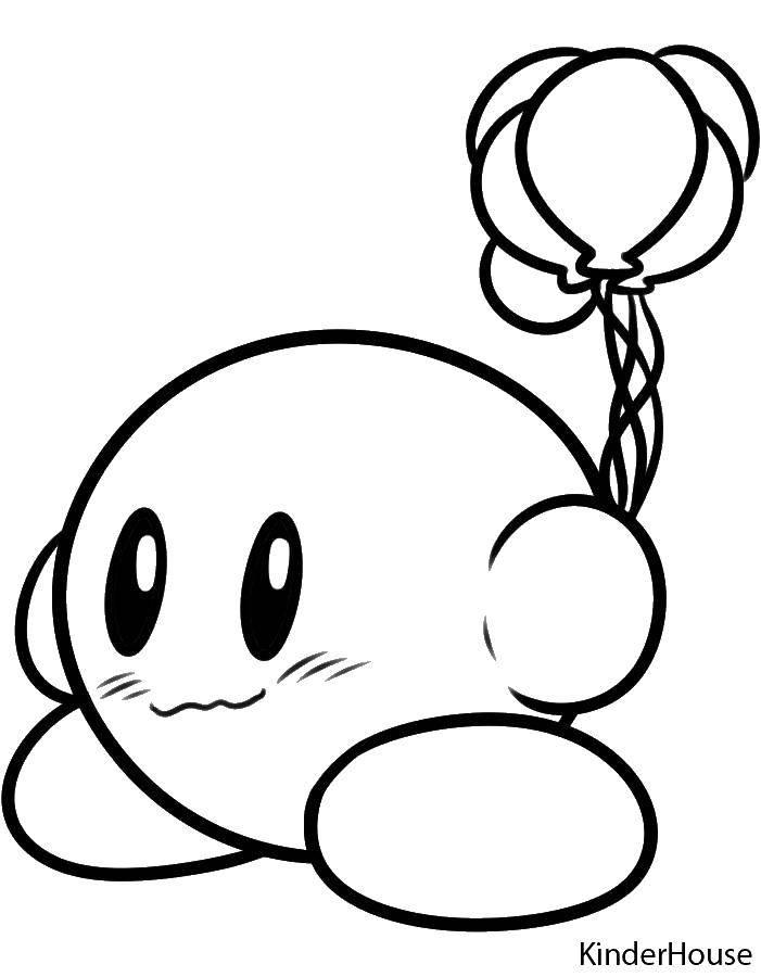 Раскраска Кирби с шариками Скачать Игры.  Распечатать ,звездочки,