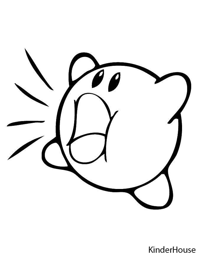 Раскраска Кирби собирает звездочки Скачать Персонаж из игры.  Распечатать ,звездочки,