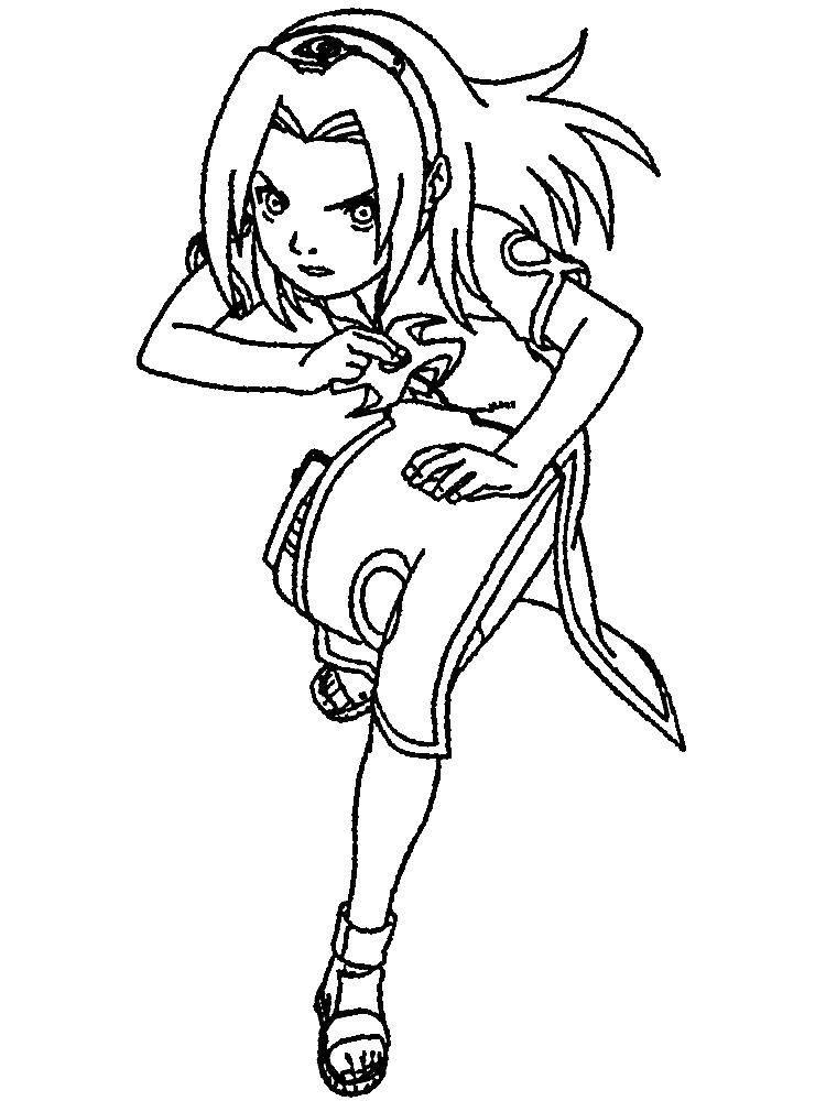 Раскраска Наруто. Скачать наруто, девушка, аниме.  Распечатать ,аниме,