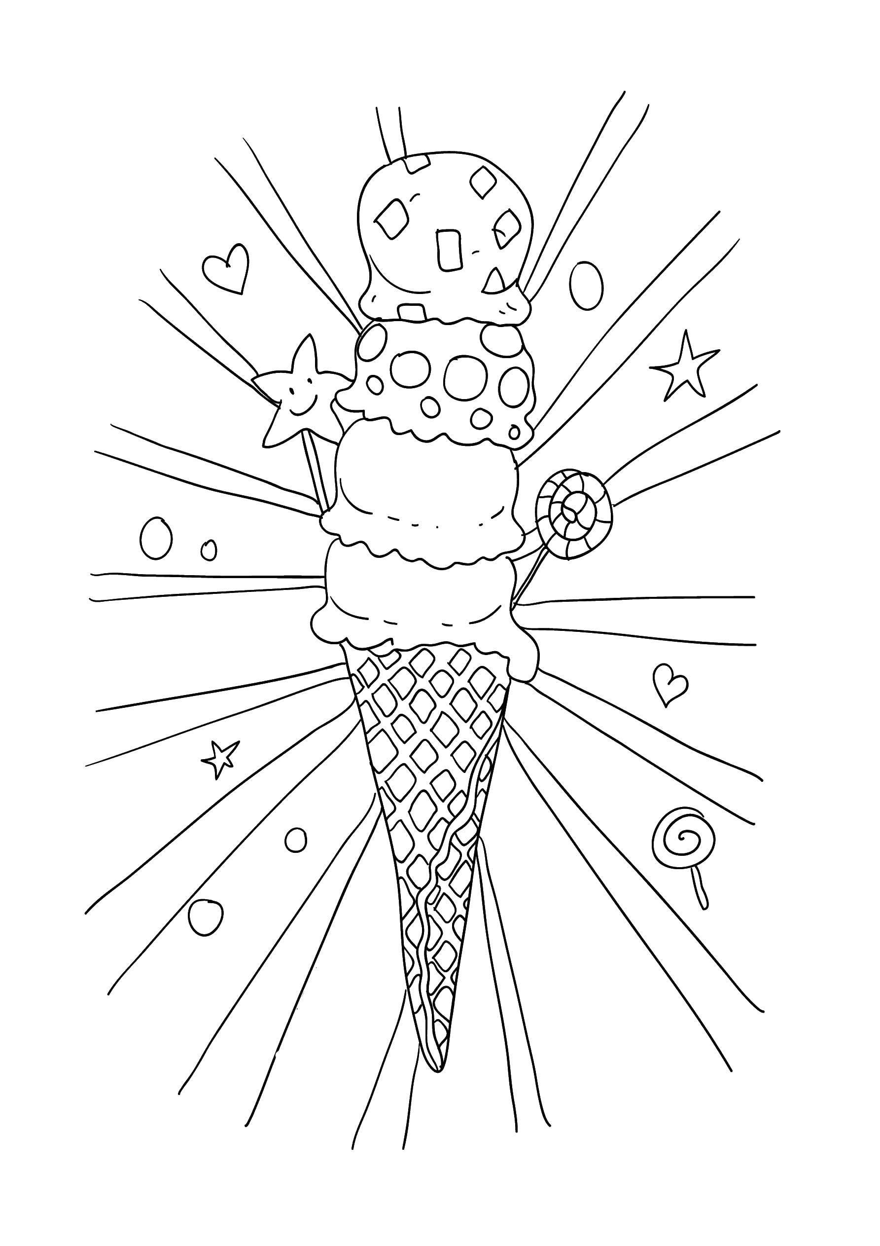 раскраски раскраска четыре шарика мороженого мороженое