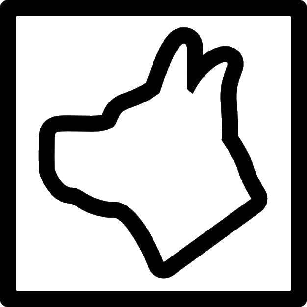 Раскраска контуры собаки Скачать Поиск предметов.  Распечатать ,Найди предметы,