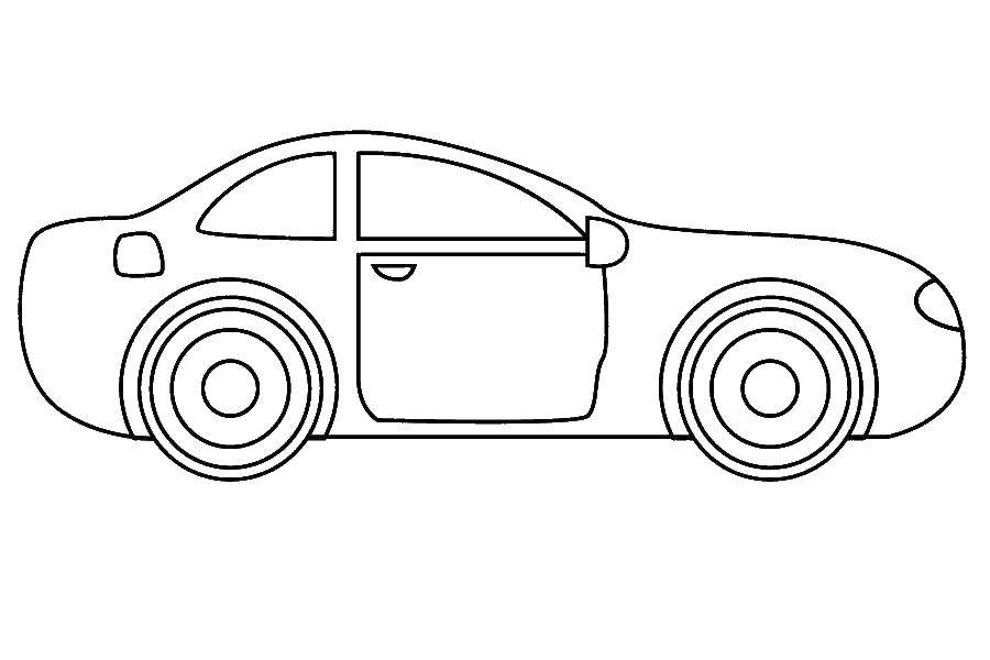 Раскраска Двухдверная машина Скачать машины, машина.  Распечатать ,Контуры машины,