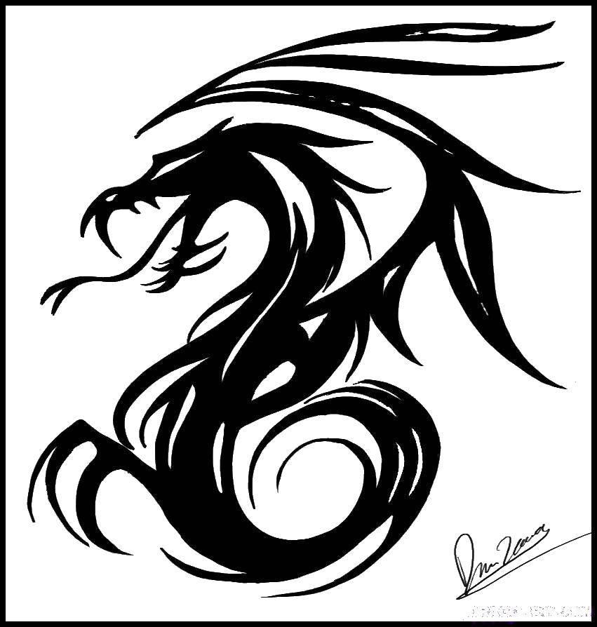 Раскраска Дракон татуировка Скачать ,Татуировка, дракон,.  Распечатать