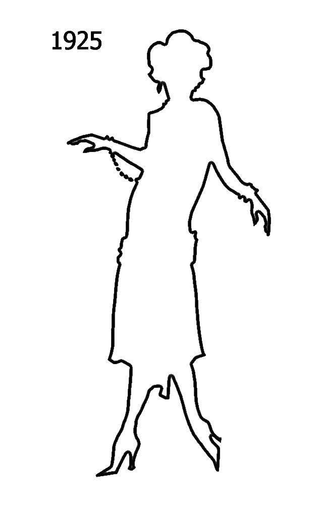 Раскраска Силуэт девушки 1925 Скачать Силуэт, девушка, 1925.  Распечатать ,Контур девочки,