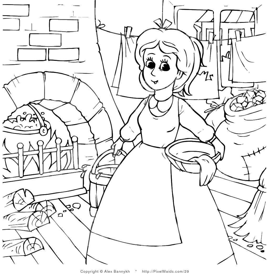 Раскраска женщина Скачать ,девушка, женщина, домозохяйка,.  Распечатать