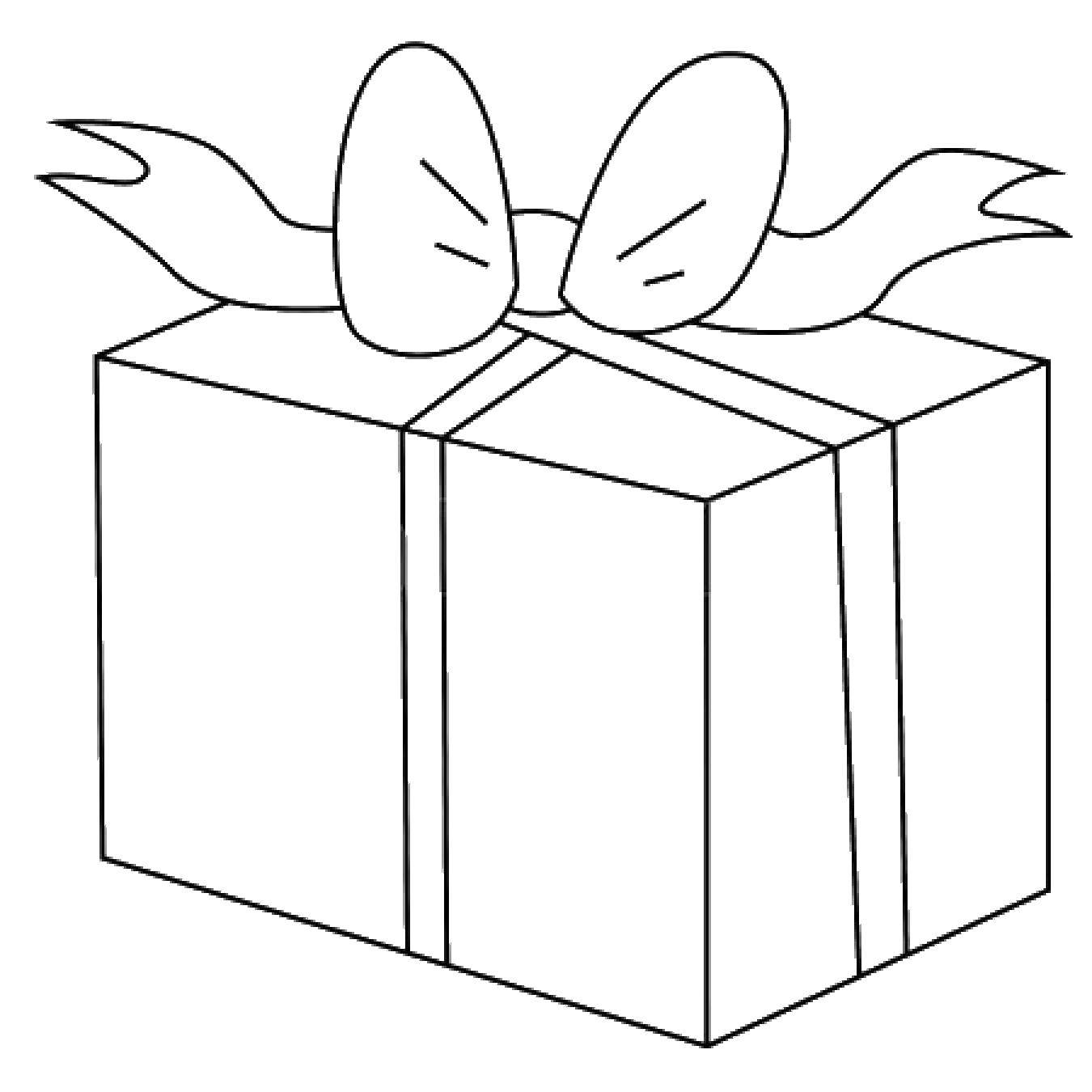 Раскраска Бантик на подарочке. Скачать Подарки, праздник.  Распечатать ,подарки,