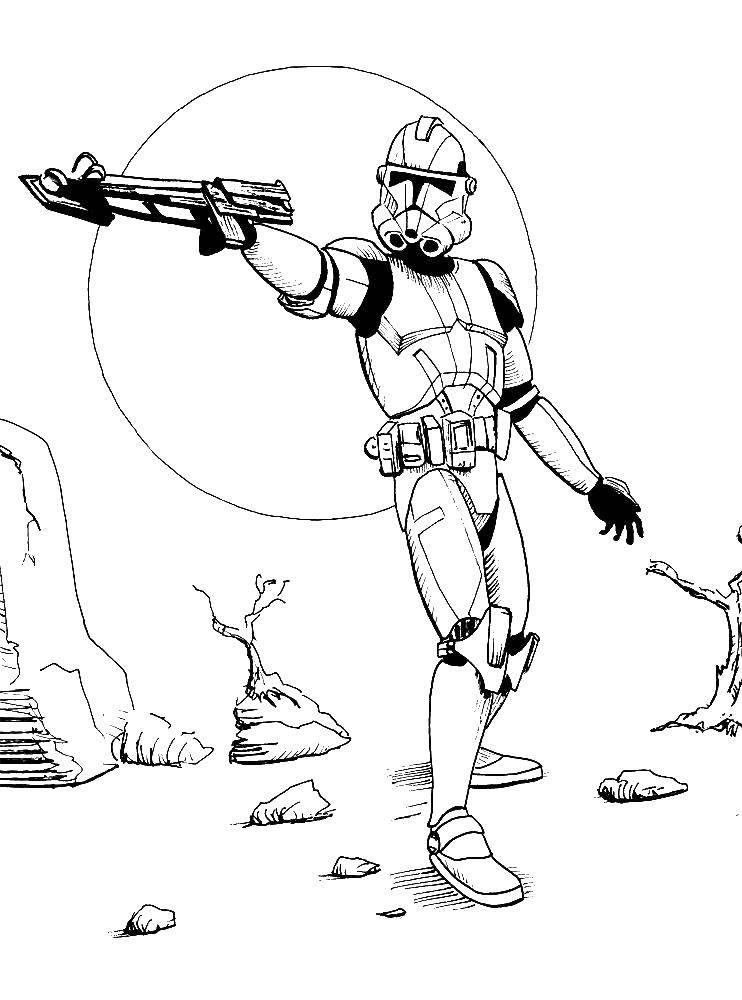 Раскраска Кадр из  звездных войн  Скачать фильм, Звездные войны, боец.  Распечатать ,фильм,