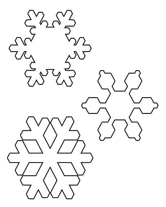Раскраска Три разные снежинки Скачать снежинки, снег.  Распечатать ,снег,