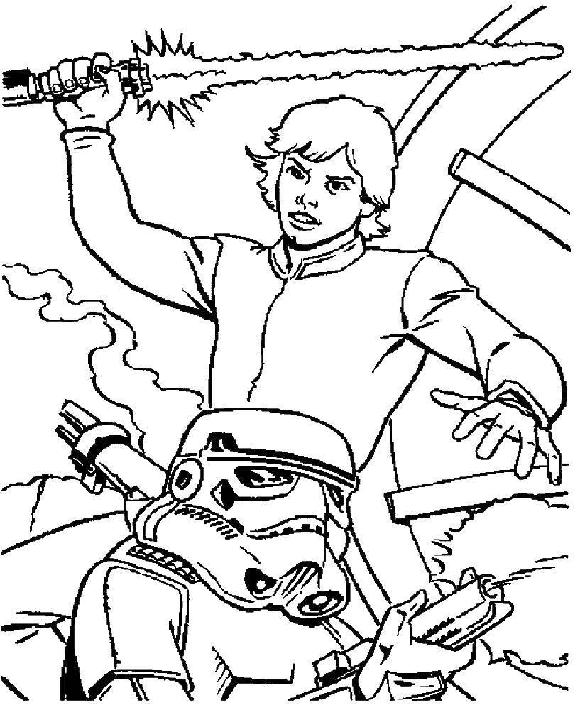 Раскраска Звездные войны Скачать фильм, драка, Звездные войны.  Распечатать ,фильм,