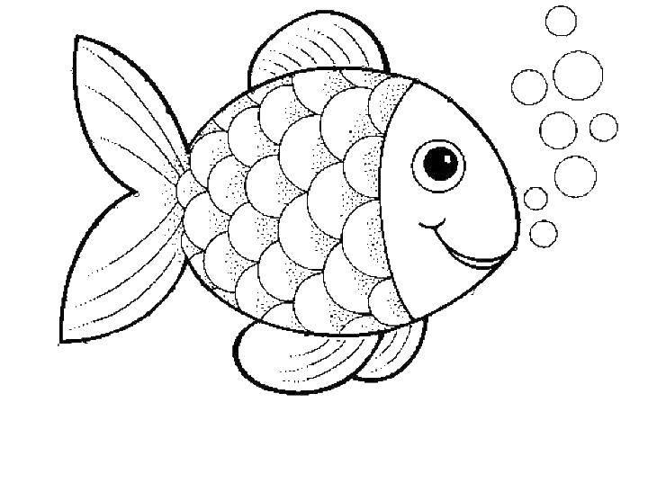 Раскраска рыбы Скачать ,рыбы, рыбки, пузырьки,.  Распечатать