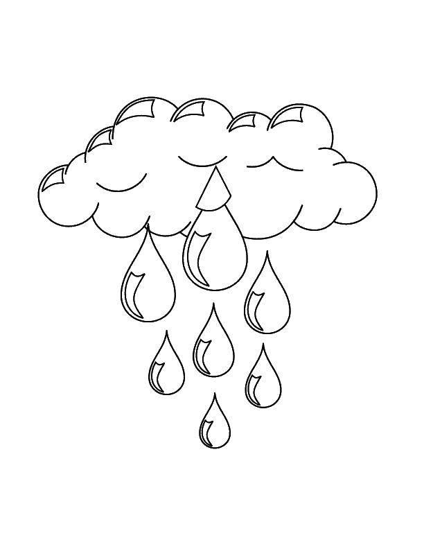 Раскраска Дождик капает с неба Скачать Дождь, тучи.  Распечатать ,Контур облака,