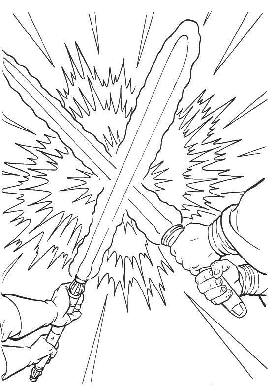Раскраска Противостояние лазерных мечей Скачать фильм, звездные войны, драка, лазерные мечи.  Распечатать ,фильм,