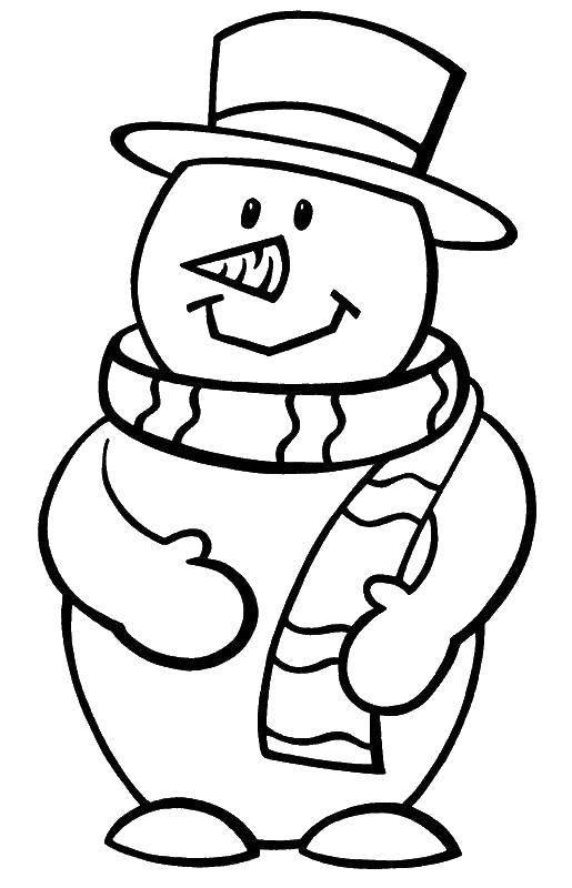 Раскраска Снеговик в шляпе Скачать снеговик, шляпа, шарф, морковка.  Распечатать ,Рождество,
