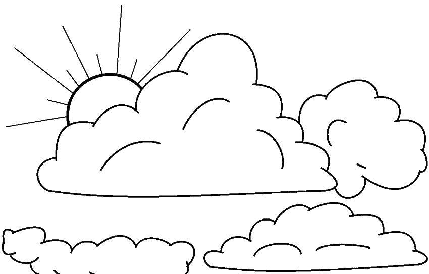 Раскраска Солнце за облаками Скачать Облако, небо.  Распечатать ,Контур облака,