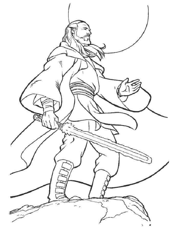Раскраска Квай-гон джинн из звездных войн Скачать Будущее, Звездные Войны.  Распечатать ,Персонажи из фильмов,