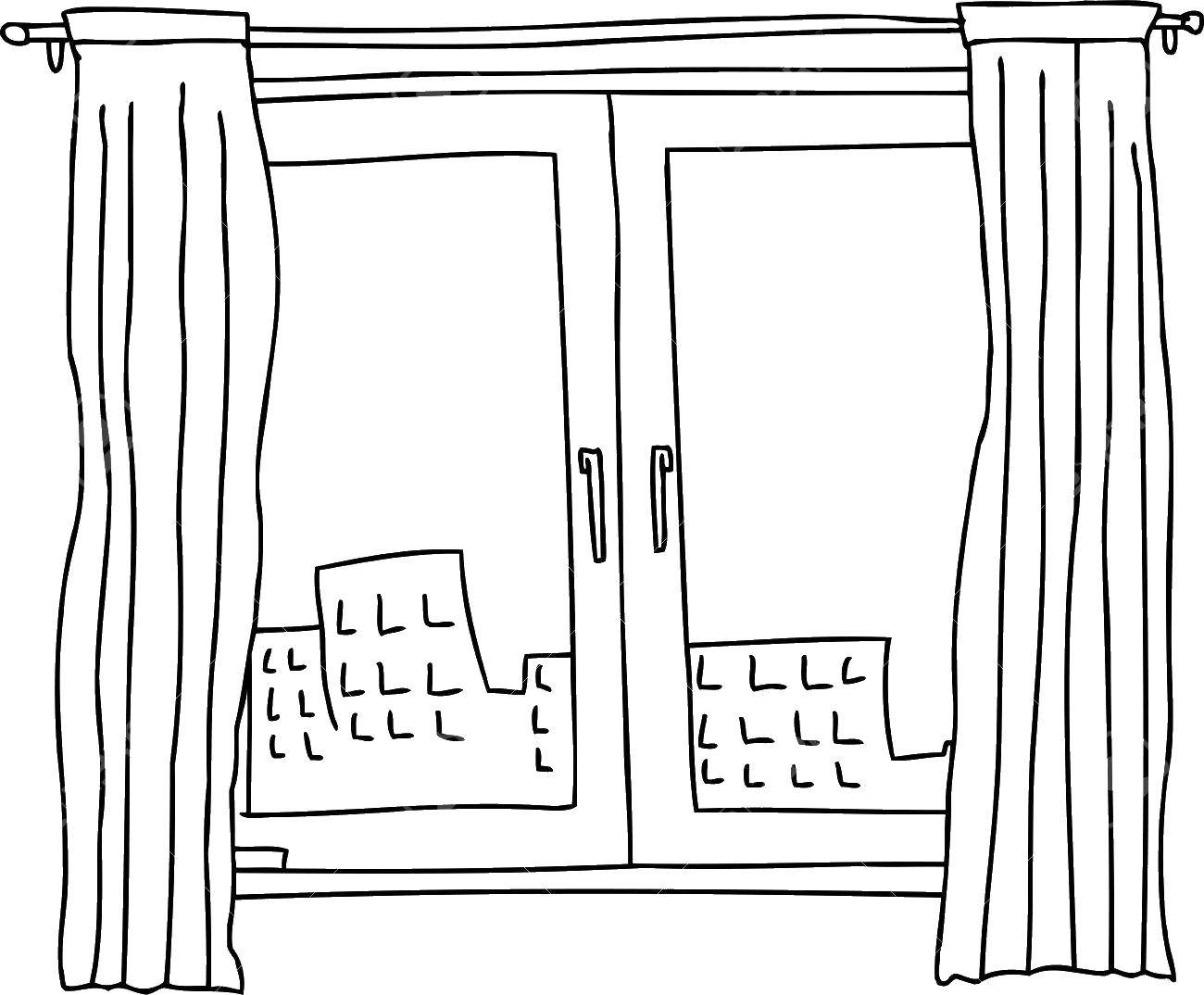Раскраска Окно и шторы Скачать ,окно, шторы,.  Распечатать