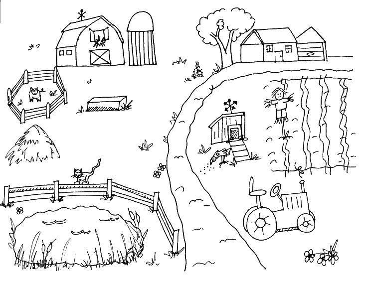 Раскраска Ферма с трактором Скачать ,ферма, трактор,.  Распечатать
