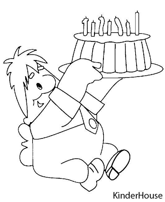 Раскраска Карлсон с тортом Скачать мультфильмы, Карлсон, торт.  Распечатать ,раскраски карлсон,