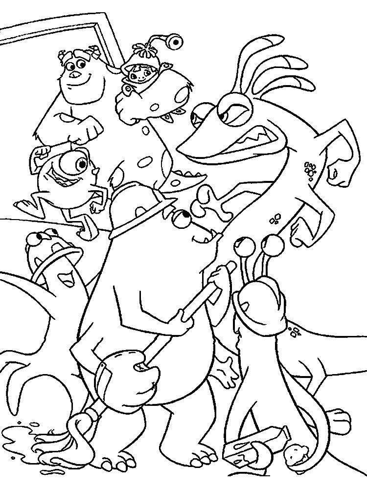 Раскраска Джеймс и его друзья Скачать Джеймс, Майк, ребенок, монстры.  Распечатать ,раскраски корпорация монстров,