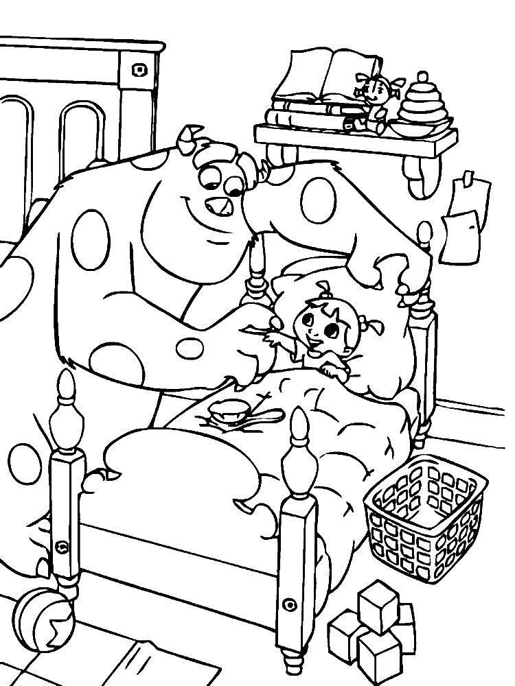 Раскраска Джеймс салливан и ребенок Скачать монстры, кровать, ребенок.  Распечатать ,раскраски корпорация монстров,