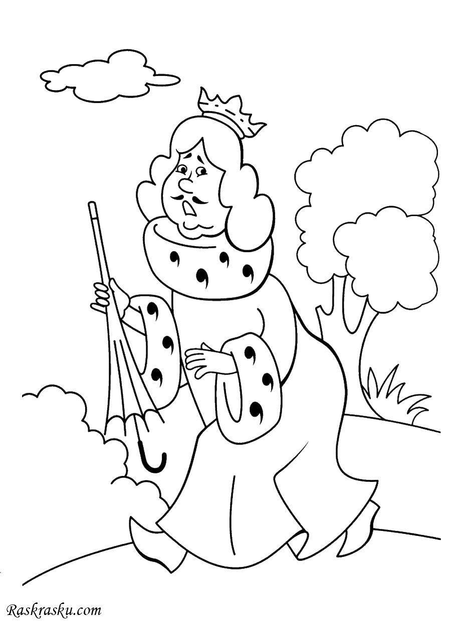 Раскраска Король с зонтиком Скачать король, зонтик.  Распечатать ,Король,