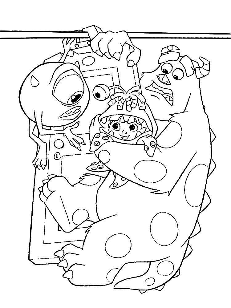 Раскраска Корпорация монстров Скачать корпорация монстров, мультфильмы..  Распечатать ,раскраски корпорация монстров,