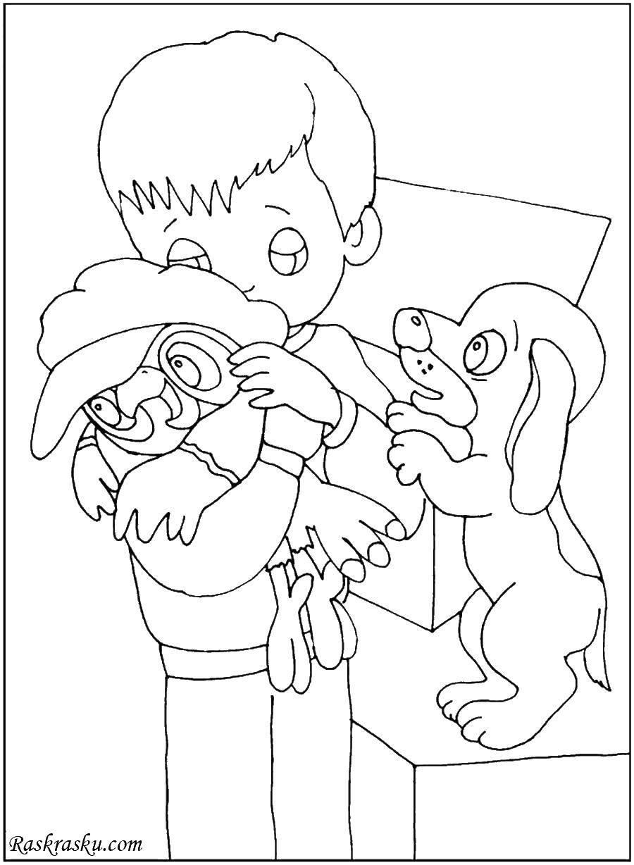 Раскраска Малыш попугай и собачка Скачать попугай Кеша, собачка, малыш.  Распечатать ,раскраски попугай кеша,