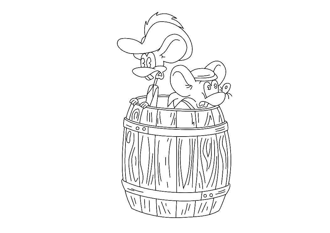 Раскраска Мыши протиы кота леопольда Скачать леопольд, кот.  Распечатать ,раскраски кот леопольд,