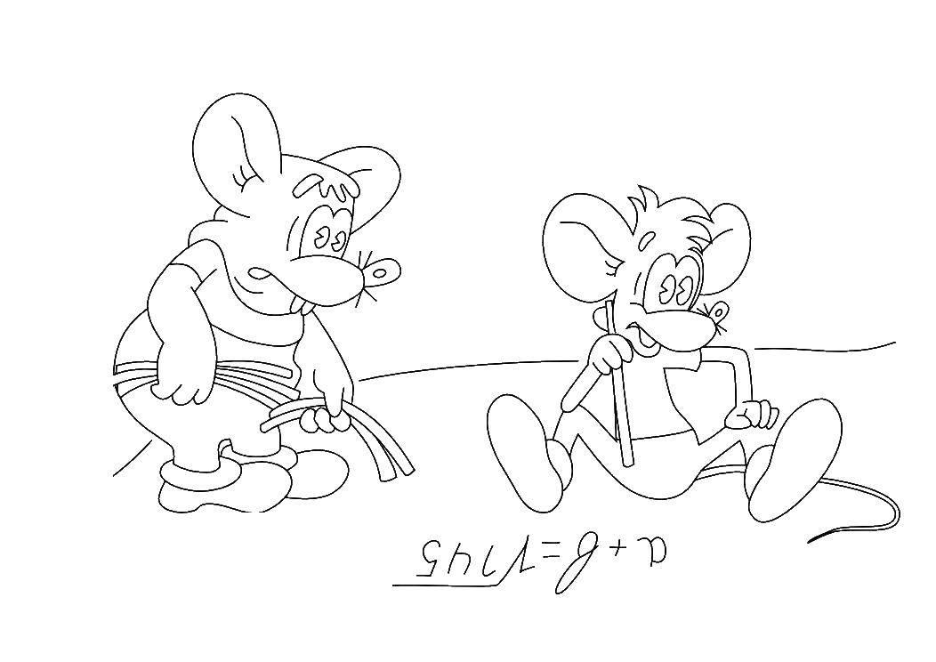 Раскраска Мыши решают задачу Скачать мыши, задача.  Распечатать ,раскраски кот леопольд,