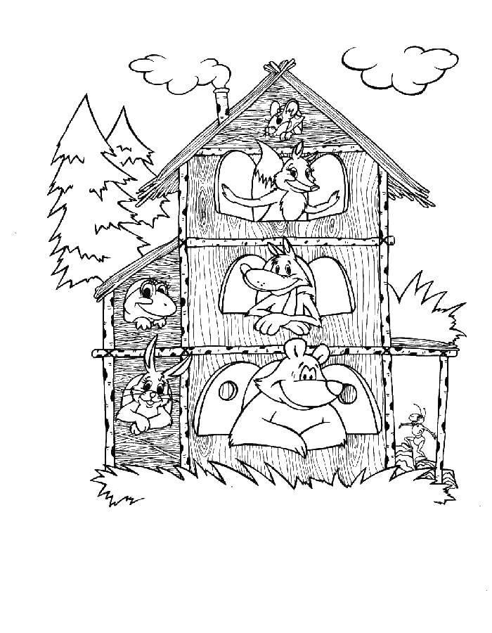 Раскраска теремок Скачать свинка Пеппа, стол, мама, папа, брат.  Распечатать ,Свинка Пеппа,