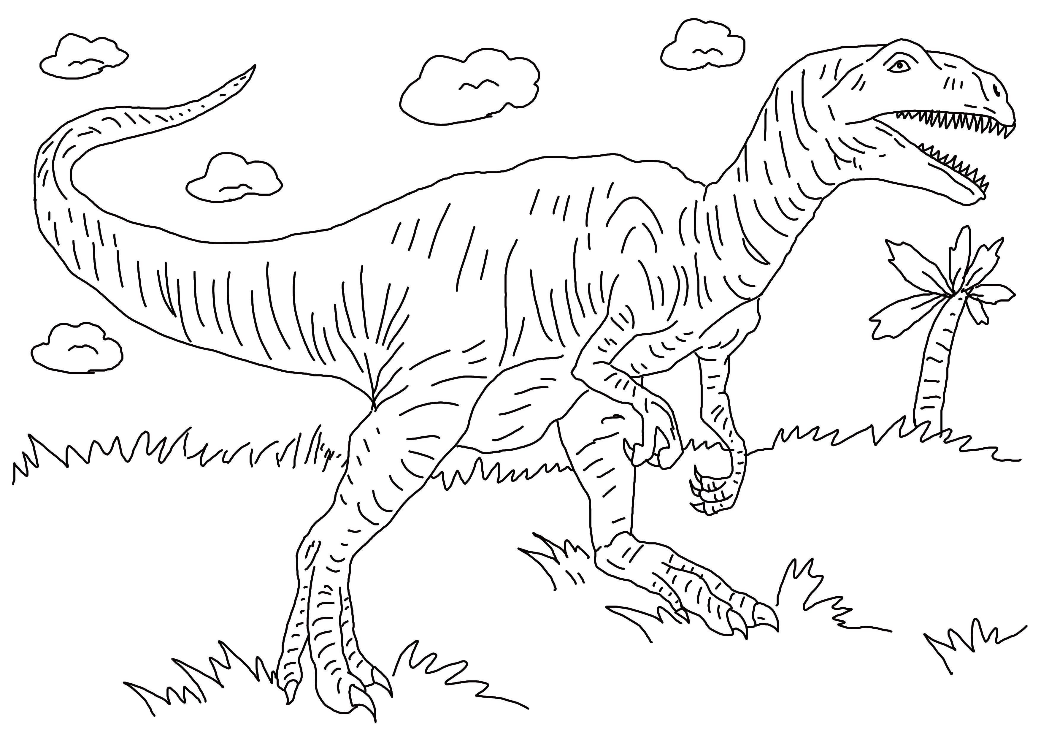 Раскраска Динозавр на траве Скачать динозавр, трава, хвост.  Распечатать ,динозавр,