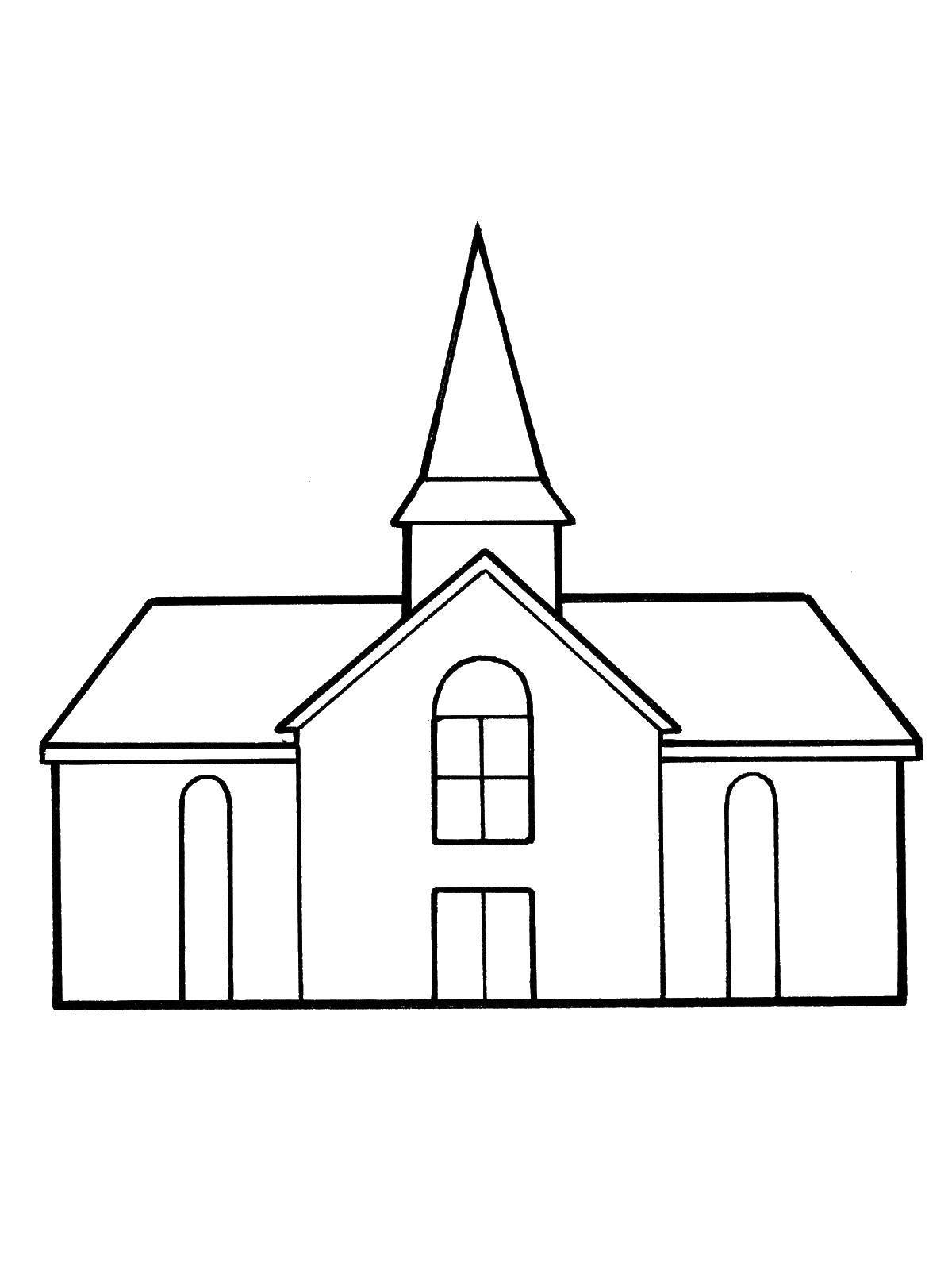 Раскраска Дом церковь Скачать церковь, дом.  Распечатать ,Контуры домов,