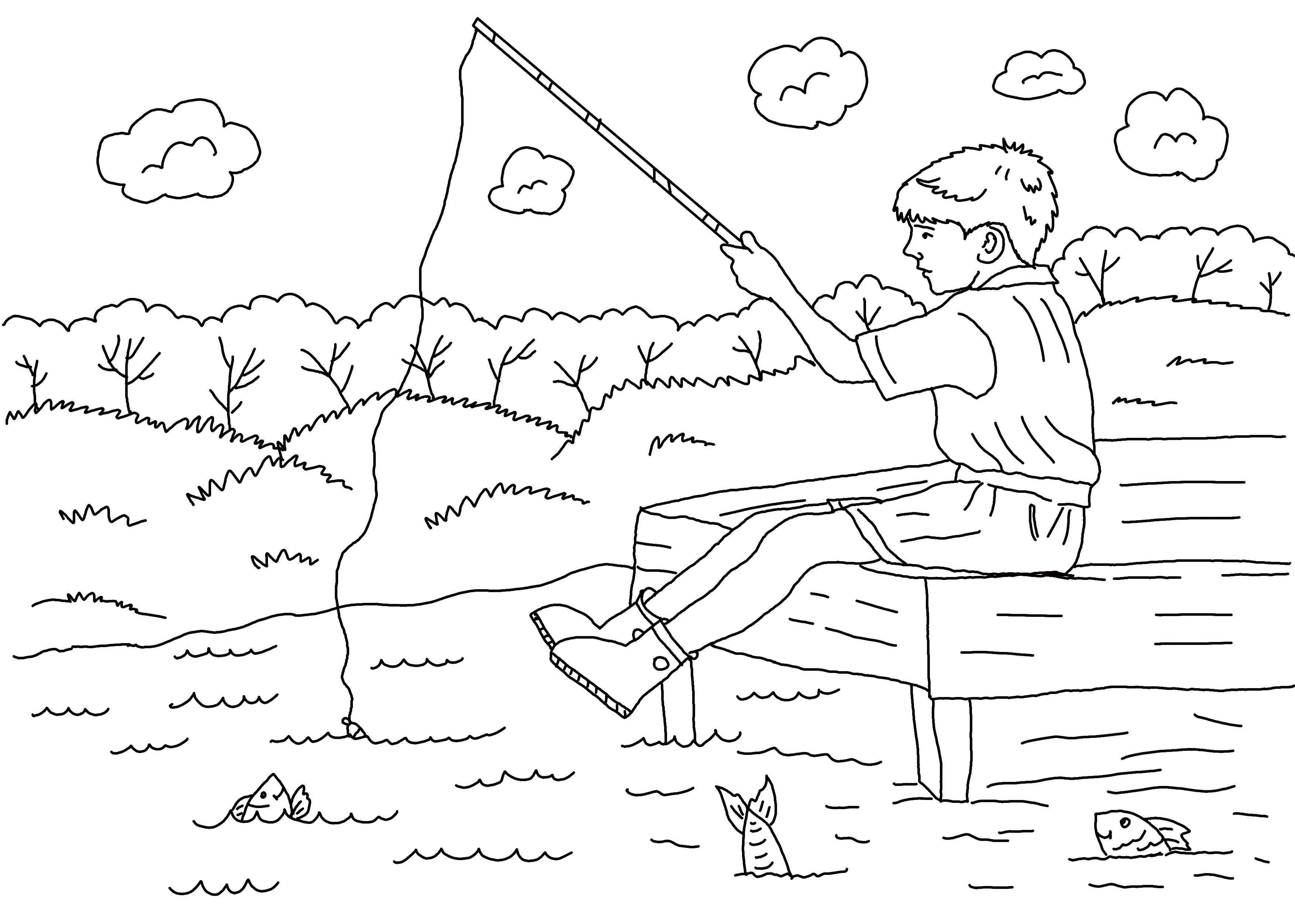 Раскраска Мальчик ловит рыбок в озере Скачать Мальчик, рыбалка.  Распечатать ,рыбалка,