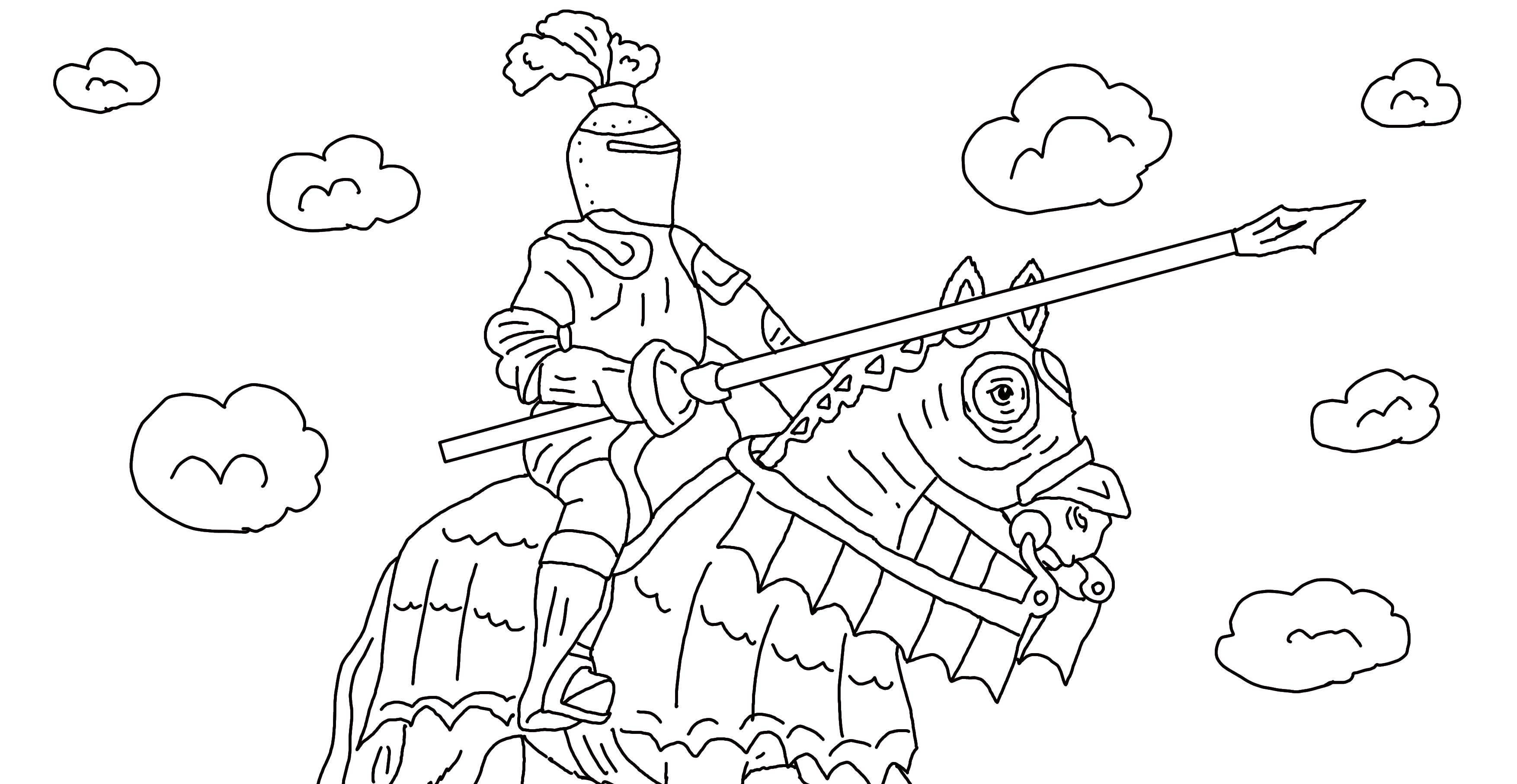Раскраска Рыцарь на коне в доспехах Скачать рыцарь, доспехи.  Распечатать ,Рыцари,