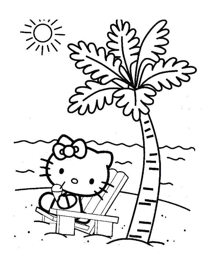 Раскраска Hello kitty на пляже Скачать Hello Kitty, палма, солнце.  Распечатать ,Hello Kitty,