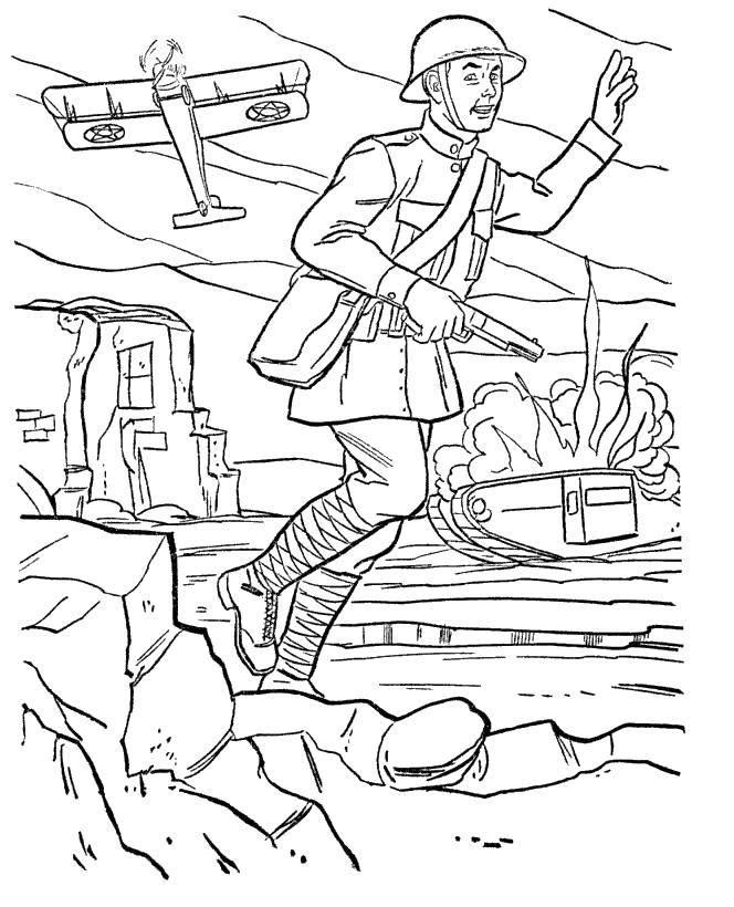 Раскраска военные раскраски Скачать ,Война, бой, солдат, оружие, танк, самолёт,.  Распечатать