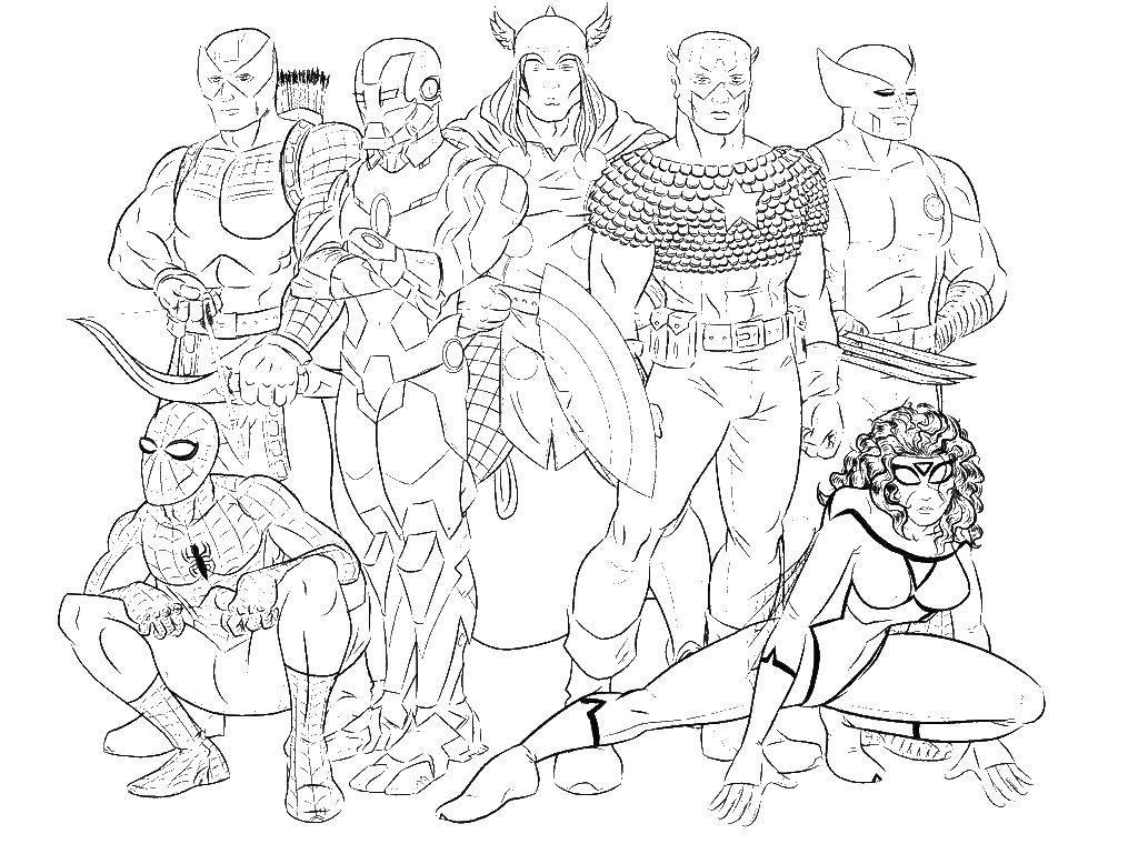 Раскраска Мстители супергерои из марвел Скачать мстители, супергерои.  Распечатать ,мстители,