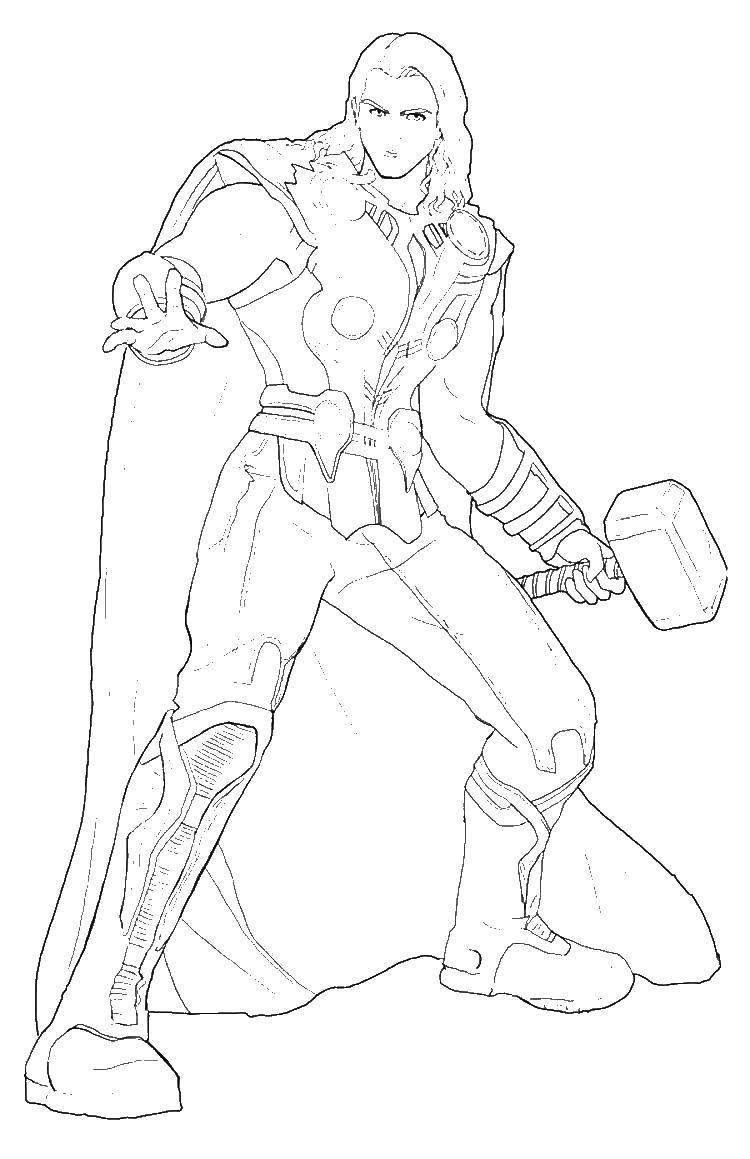 Раскраска Тор супергерои и з асгарда Скачать супергерои, Тор.  Распечатать ,супергерои,