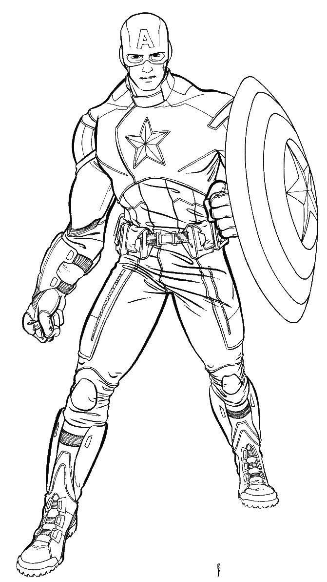 Раскраска капитан америка Скачать ,капитан америка, супергерой, мстители,.  Распечатать