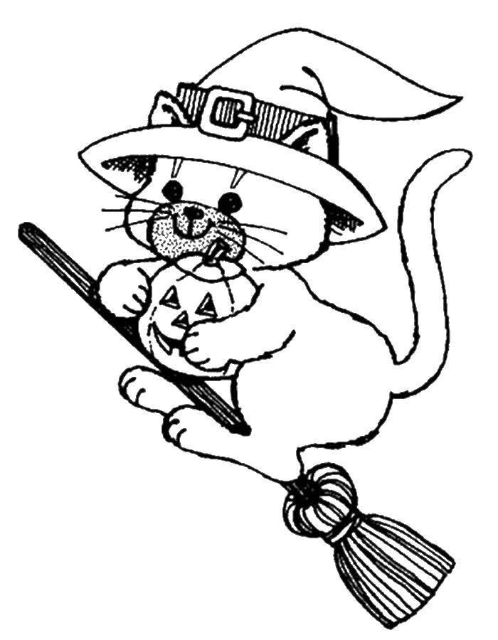 Раскраска Кошка ведьма на хэллоуин на метле. Скачать Хэллоуин, ведьма.  Распечатать ,Хэллоуин,