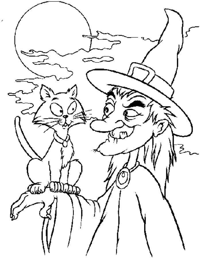 Раскраска Кошка ведьмы. Скачать Хэллоуин, ведьма.  Распечатать ,Хэллоуин,
