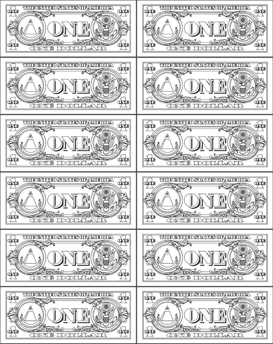 Раскраска Деньги монополий Скачать деньги.  Распечатать ,Деньги,
